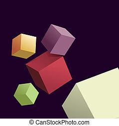 立方, 背景, 摘要, 3d, 不同, 顏色