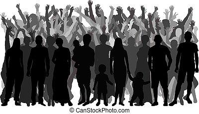站立, 人群。, 充分, 人們, 黑色半面畫像, 矢量, 成長