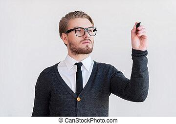 站立, 保持, 漂亮, 灰色, 針對, 年輕, 當時, 橫渡的 胳膊, 背景, board., 寫, 人, 擦, 透明, 眼鏡