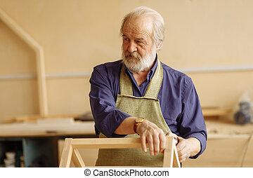 站立, 修理, 老, 看, 商店, woodworker, 嚴肅, 漂亮