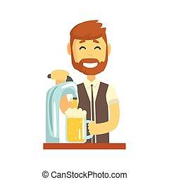 站立, 傾瀉, 公然反抗, 計數器, 調酒師, 啤酒, 字, 插圖, 微笑, 矢量, 酒吧, 男服務員, 工作, 卡通, 人