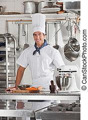 站立, 廚師, 廚房, 充滿信心, 餐館