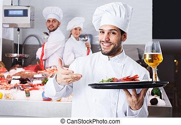 站立, 廚師, fish, 餐館