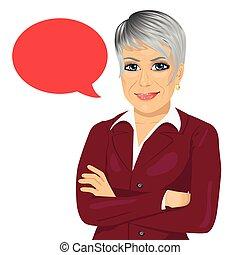 站立, 從事工商業的女性, 被交叉的 雙臂, 演說, 有吸引力, 空白, 年長者, 氣泡, 紅色