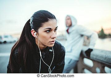 站立, 橋梁, city., 适合, 賽跑的人, 布拉格, 年輕, 女性, 在戶外