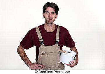 站立, 水桶, 修平刀, 抹灰工