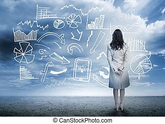 站立, 流程圖, 看, 數据, 從事工商業的女性