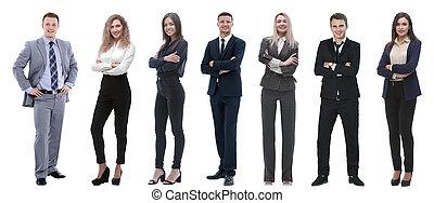 站立, 組, 商業界人士, 成功, row.