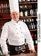 站立, 酒吧, 餐館, 廚師, 充滿信心, 烹調, 酒