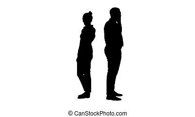 站立, calls., 婦女, 黑色半面畫像, 年輕, 背, 電話, 美國人, african, 做, 人