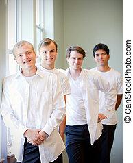 站立, groomsmen, 新郎, 年輕, 得到, 婚禮, 准備好