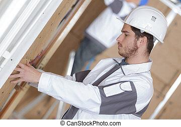 站點, 工人, 牆壁, 絕緣, 充滿, 建設