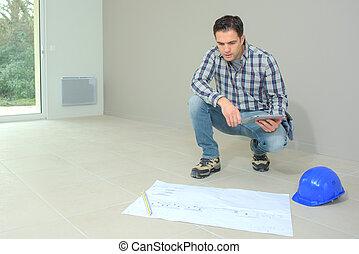 站點, 工人, 計劃, 建設, 檢查, 工程師