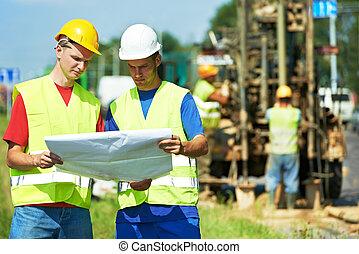 站點, 建設, 工作, 建造者, 路, 工程師