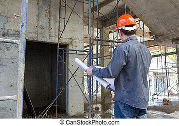 站點, 建設, 工程師, 建築師, 藍圖