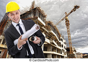 站點, 建設, 工程師, 建造者, 藍圖