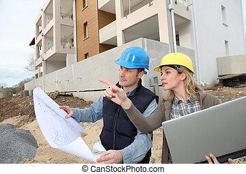 站點, 看, 建設, 建筑師計划, 工程師