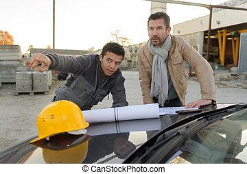 站點, 項目, 經理, 建設, 建築師, 工程師