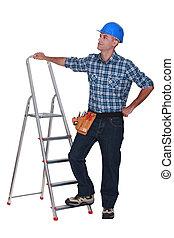站, 梯子, 工人, 手冊