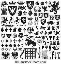 符號, 元素, heraldic