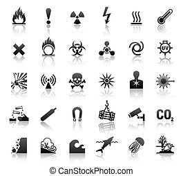 符號, 危險, 黑色, 圖象