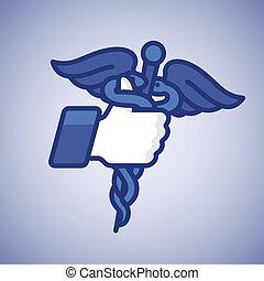 符號, 向上, caduceus, like/thumbs, 醫學, 圖象