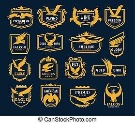 符號, 圖象, 飛行, heraldic, 鷹