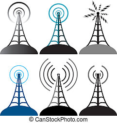 符號, 塔, 矢量, 收音机