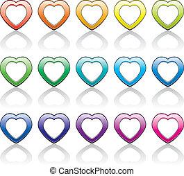 符號, 心, 集合, 矢量, 鮮艷