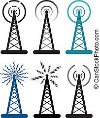 符號, 收音机塔, 矢量, 設計