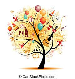 符號, 樹, 愉快, 慶祝, 假期, 有趣