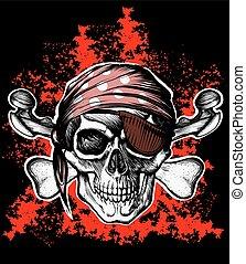 符號, 海盜旗, 骨頭, 橫渡, 海盜