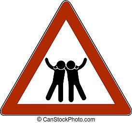 符號, 矢量, 朋友, 黑色半面畫像, 插圖