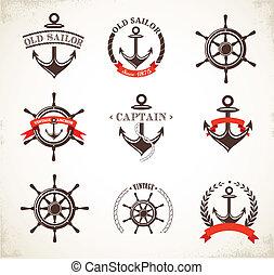 符號, 葡萄酒, 集合, 船舶, 圖象