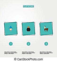 符號, 風格, 圖象, 卡通, 你, 魔術師, design., 其他, 网, 套間, 流動, 半人半馬的怪物, app, 火, 標識語, 集合