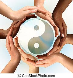 符號, yin, 多種族, 圍攏, yang, 手