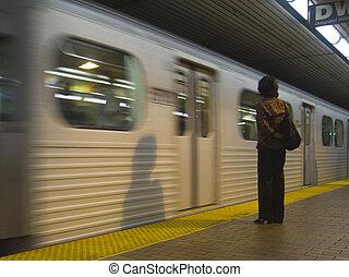 等待, 婦女, 地鐵