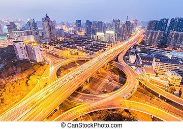 等級, 城市, 黃昏, 分開, 橋梁