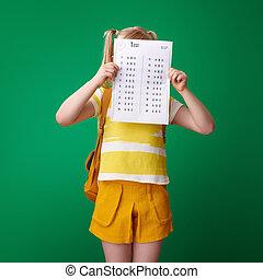 等級, 後面, 坏, 綠色, 小學生, 背景, 測試, 隱藏