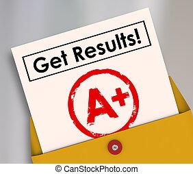 等級, 得到, a+, 報告卡片, 結果, 學生, 信