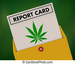 等級, 罐, 大麻, 插圖, 雜草水生植物, 大麻, 得分, 報告卡片, 3d