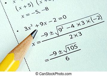 等級, 鉛筆, 學校, 一些, 數學