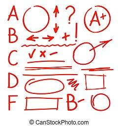 等級, latters, 集合, 老師, marks.