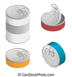 等量, 集合, 打開, 食物, 被隔离, 標簽, 錫罐, 關閉, 空白, 白色