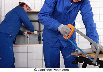 管子, 水暖工, 灰色, 鋸