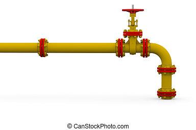 管子, 閥門, 黃色