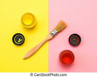管子, 黃色, kit., 粉紅色, 染料灌木地帶, 創造性, 背景。