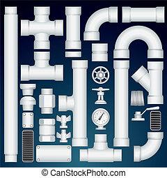 管道, customizable, parts., 成套用具, pvc, 矢量