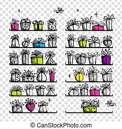 箱子, 圖畫, 你, 禮物, 略述, 設計, 架子