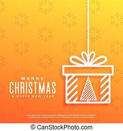 箱子, 禮物, 裡面, 樹, 黃色, 設計, 背景, 聖誕節